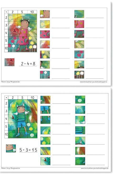 Schriftlich Multiplizieren - Suche die Ausschnitte und rechne die Aufgaben