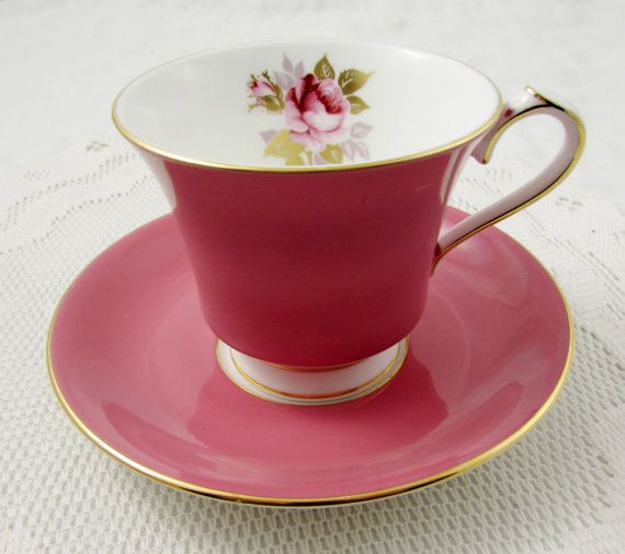 Aynsley Pink Tea Cup and Saucer with Pink Rose, Vintage Bone China