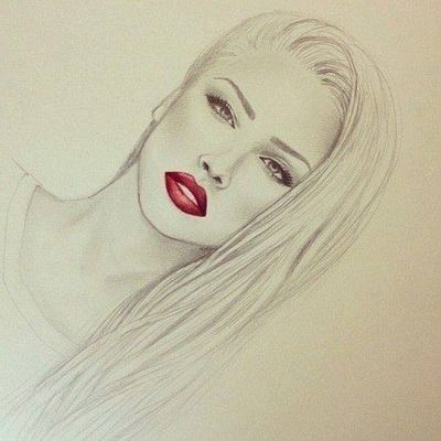 I love how the sketch is grey and her lips are red. There always has to be that one part of the picture that stands out.