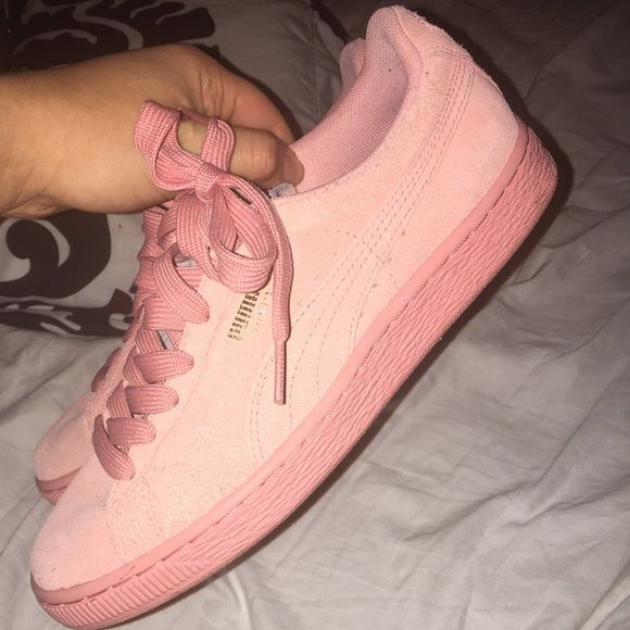Pink suede Pumas Awesome condition, super comfortable and adorable color! Only worn 3 times, they still look new Puma Shoes Sneakers