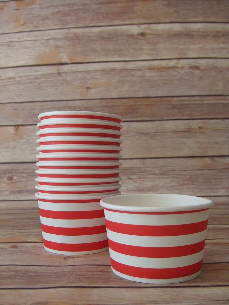 Red Striped Ice Cream Bowls, Popcorn Bowl, Treat Bowl