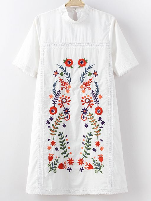 White Mock Neck Short Sleeve Keyhole Back Embroidery Dress -SheIn(abaday)