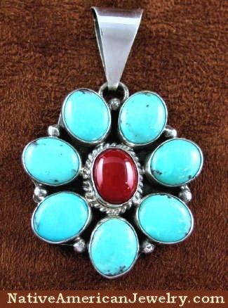 Native American Jewelry | Turquoise Coral Jewelry | Turquoise Coral Pendant | Silver Pendant