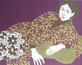 Phyllis Sloane, Woman in a Flowered Robe, silkscreen in colors, 1972