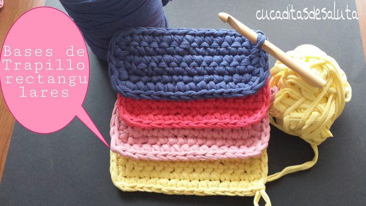 Hola a todos,son unas bases de trapillo rectangulares,para bolsos de mano, cestas, o para empezar una alfombra, son muy fáciles de hacer y rapidas. También p...