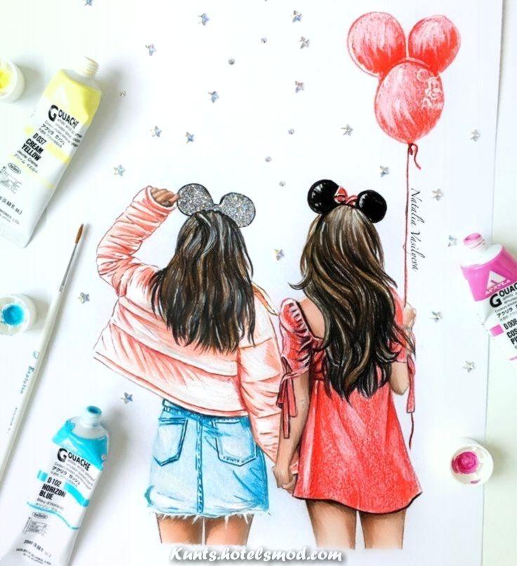 kunst illustration  mädchen malen zeichnungen für