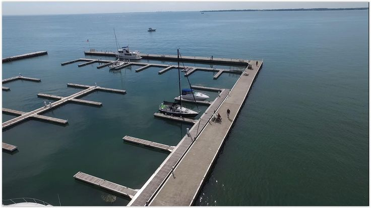 Looked at the weather report and said '4 days of vacation please, I'm going sailing.' Drone photo of Portside Marina on Kelley's Island Ohio - Lake Erie