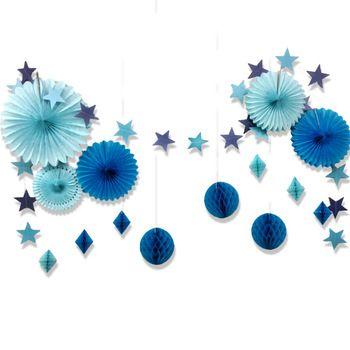 Conjunto de 15 Estrella Azul De Papel Guirnalda Fans Papel de Seda Honeycomb Balls para el Cumpleaños Del Bebé Ducha Ducha Nupcial Decoración Espacio