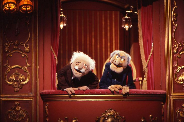The Muppet Show - Hecklers Statler and Waldorf share the stage left balcony box in the Muppet Theater.