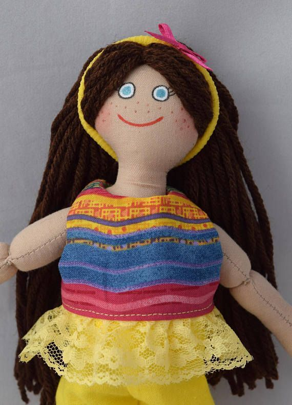 Toy Doll For Kids  Brunette Doll  Handmade