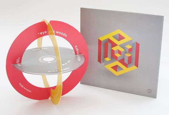 Plaid's new album Scintilli, released on Warp. The album is packaged in an oversized CD digipack, due to the inclusion of two printed rings with which, together with the CD itself, you can make the pictured sculptural piece. Design: Chap Idler II.