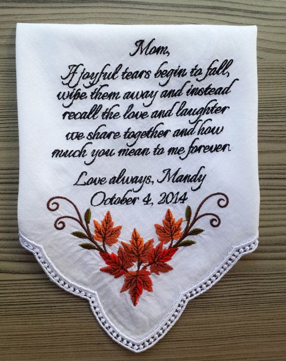 Mother of the bride handkerchief.  Embroidered by PromiseForever