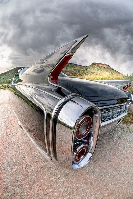 1960 Cadillac Eldorado - awkward heathen infantile toy-like car design - but brilliant shot by photographer