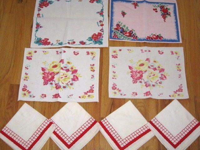 VINTAGE 1940-50 LINEN LOT KITCHEN PLACEMATS LUNCHEON NAPKINS FRUIT BRIGHT COLORS in Collectibles, Linens & Textiles (1930-Now), Table Linens   eBay