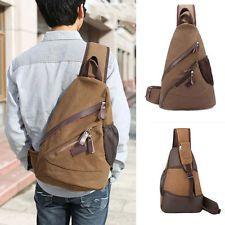 мужские винтажные холст кожаный рюкзак через плечо слинга Велоспорт груди сумка через плечо