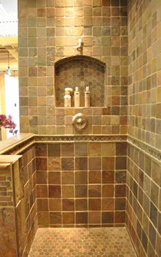 Built in shelf ceased into tiled shower 39 best Country French  BATHROOMS images on Pinterest Bathroom