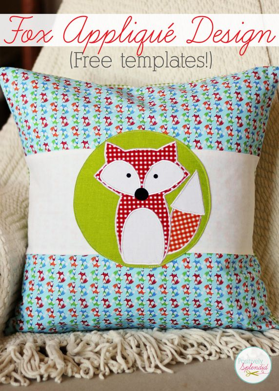Adorable fox applique design with free downloadable templates