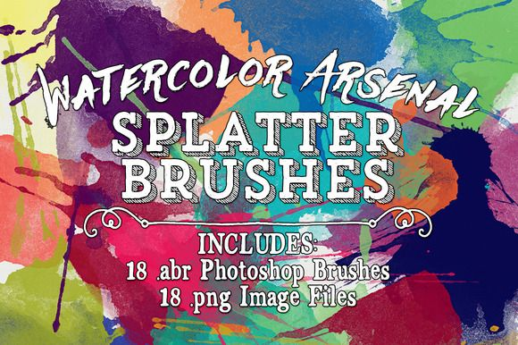 Water Color Arsenal Splatter Brushes by Clikchic Designs on @creativemarket