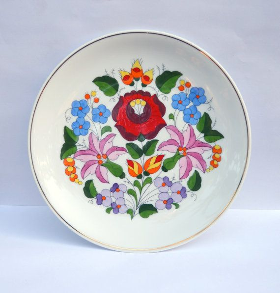 Kalocsa Hungary Hand Painted Floral Wall Plate