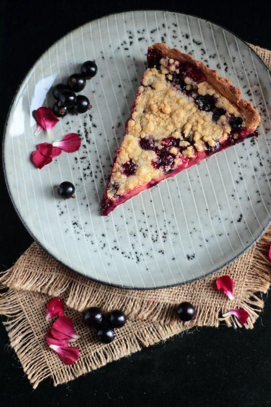 Blackcurrant crumble tart