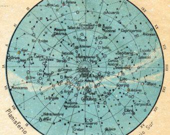 1940 Spanish Vintage Cosmography Print No. 3 / Figuras de Cosmografia