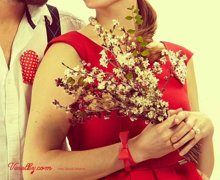 Pin-up wedding,wedding,bride, cherry blossom, blossom, man, bride,groom, woman, pin up, pin-up, veselky.com, veselky, pin, red, style, dress, flower, wedding flower, hairstyle, 50s, 1950, modern, unusual , couple, photo, image, detail, studio, heart, david severin, jane bond special, love fashion, photo severin, retro, diy, czech republic, simplicity, patern, man, braces, design, czech design