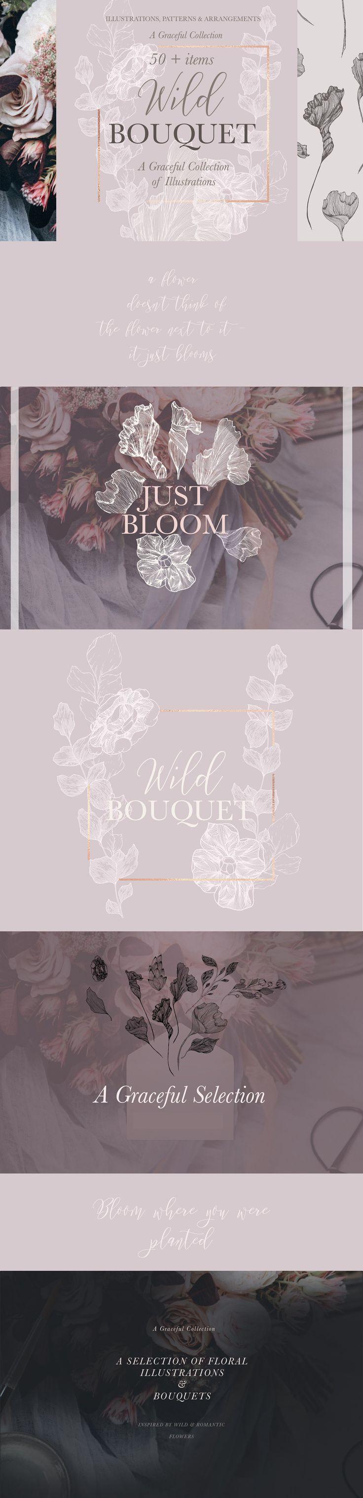 Wild Bouquet Wedding Illustrations by Laras Wonderland on @creativemarket
