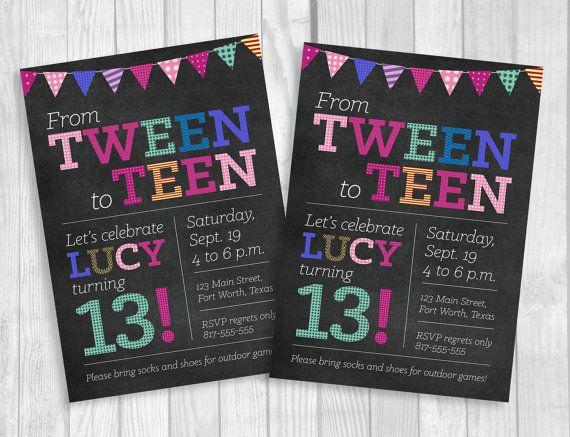 Custom Printable 5x7 Tween To Teen Girl39s 13th Thirteen