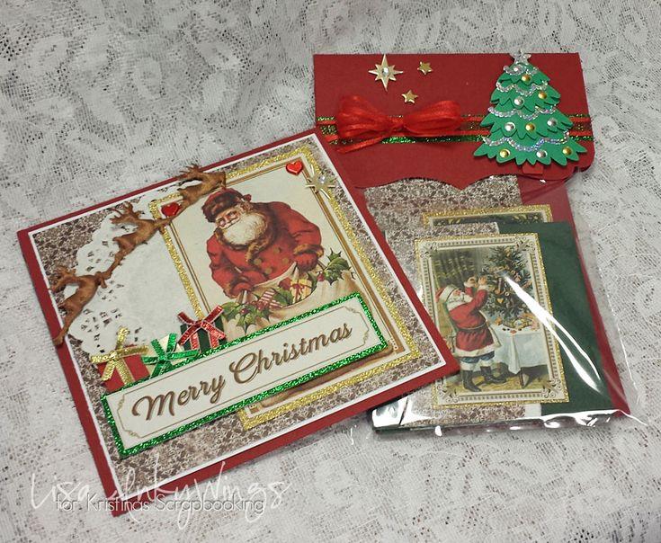 Julgåva med julkort - http://kristinasscrapbookingblogg.se/julgava-med-julkort/ - Tänk att man med endast några papper faktiskt kan göra en hel bunt julkort! Till och med så många att man kan knåpa ihop en liten julpresent och ge till någon som kanske inte hinner med att göra sina egna julkort. Lite inspiration kommer här!  Ett stort julkort som mottagaren får med sin julhäl...