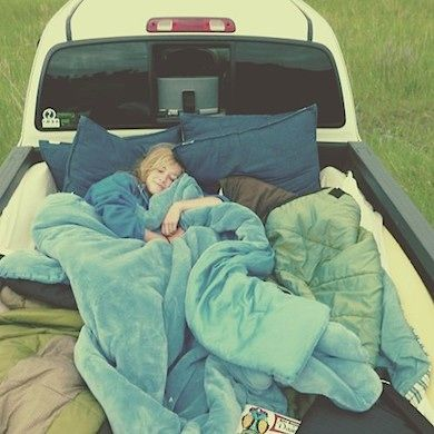 Bed of a truck.