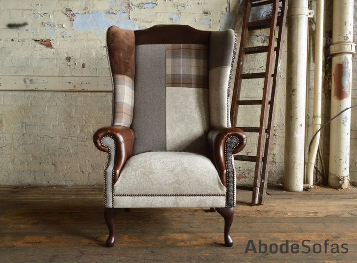 Modern British Handmade Bold Country Brown & Cream #Patchwork Chesterfield #Chair. Totally unique in a range of colourful fabric ranging in leather and wool | Abode Sofas