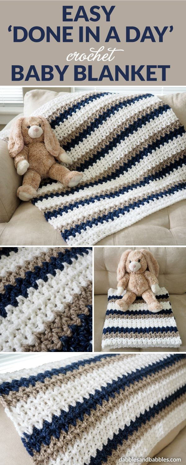 """This """"Done in a Day"""" crochet baby blanket is about as easy as it gets. As long as you can chain and double crochet, you can whip up one of these blankets yourself. Feel free to change up the colors and customize for either gender or to go with the nursery decor."""