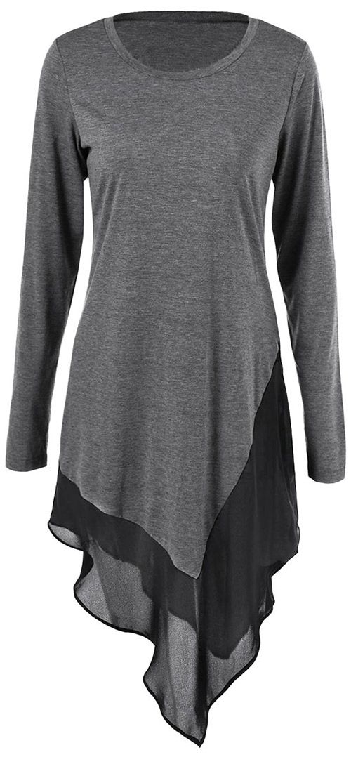 $18.99 Only with free shipping&easy return! This irregular top is detailed with round neck&splicing chiffon hem. Try this long top at Cupshe.com