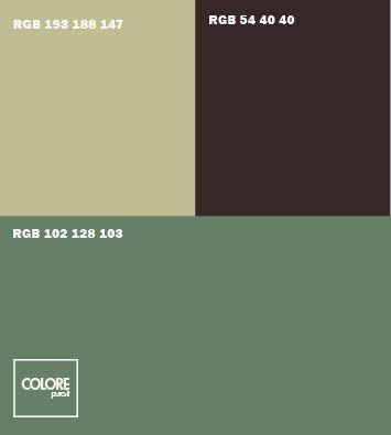 Abbinamento colori verde salvia  grigio caldo marrone scuro