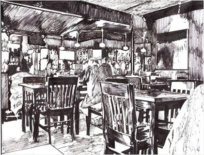 One of Seattle's Best Coffee Houses: *Cafe Vita*, Capital Hill, Seattle, WA USA (Original Art by Stefanie Payne)