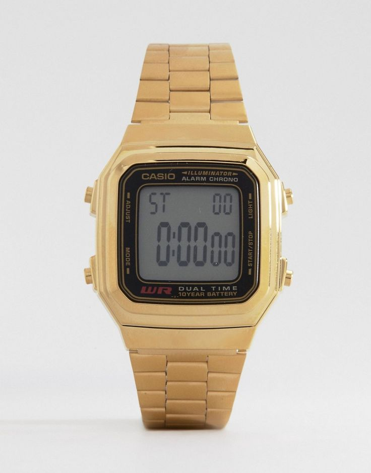 Get this Casio's watch now! Click for more details. Worldwide shipping. Casio Gold Digital Vintage Style Watch A178WGA-1 - Gold: Watch by Casio, Digital movement, Stopwatch, Backlight, Date function, Stainless steel, Fold-over clasp fastening. Founded in Tokyo, Japanese brand Casio offer a collection of watches that spans both retro and contemporary styles. Known for their innovative features, such as calculator functions, Casio watches adopt a bold use of colour to bring a modern edge to…