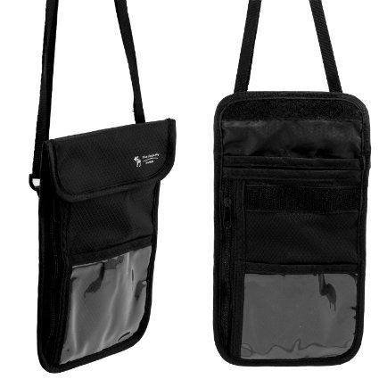 2 Pack: The Friendly Swede Neck Pouch, Passport Holder with RFID Blocking Sleeves, Black