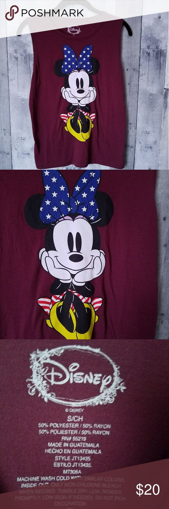 "Disney Minnie Mouse patriotic tank top small 17 1/2"" from armpit to armpit  23"" long Disney Tops Muscle Tees"