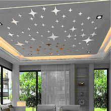2016 Nuevo 43 unids Brillan Estrellas Decoración Del Techo de Cristal Reflectante DIY Efecto Espejo 3D Pegatinas de Pared de TELEVISIÓN de Fondo Decoración(China (Mainland))