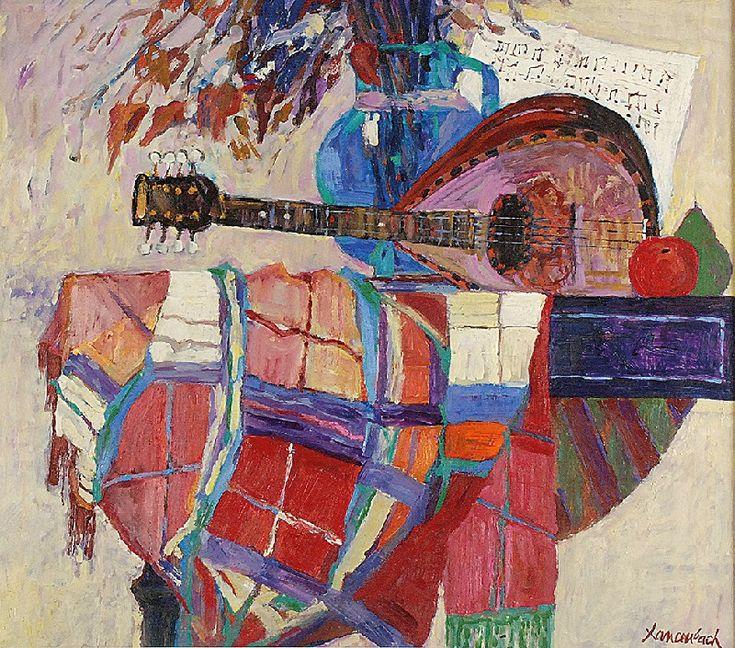 Jan SZANCENBACH (1928-1998)  Martwa natura z krakowską chustą III, 1993 olej, płótno; 70 x 80 cm;