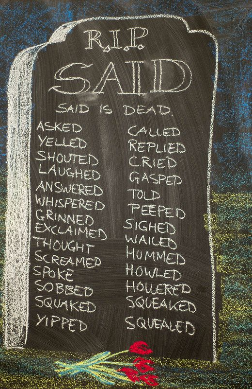 Waldorf ~ 4th grade ~ Language Arts ~ Said is Dead ~ chalkboard drawing