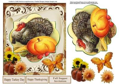 Happy Turkey Day Card Topper Decoupage on Craftsuprint - Add To Basket!