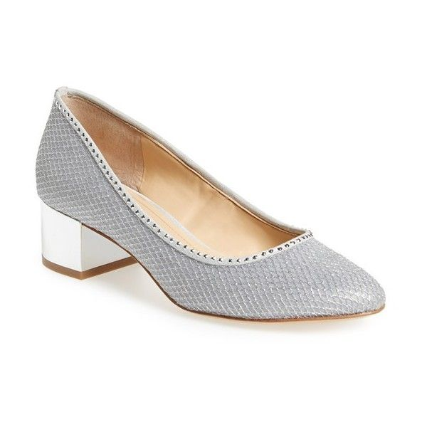 Women's Imagine By Vince Camuto 'Hetty' Block Heel Pump (230 ILS) ❤ liked on Polyvore featuring shoes, pumps, platinum suede, metallic shoes, rounded toe pumps, round toe shoes, metallic pumps and round cap