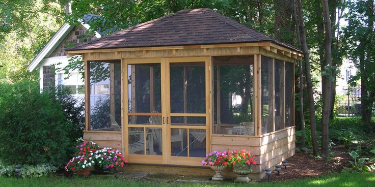 backyard screened gazebo