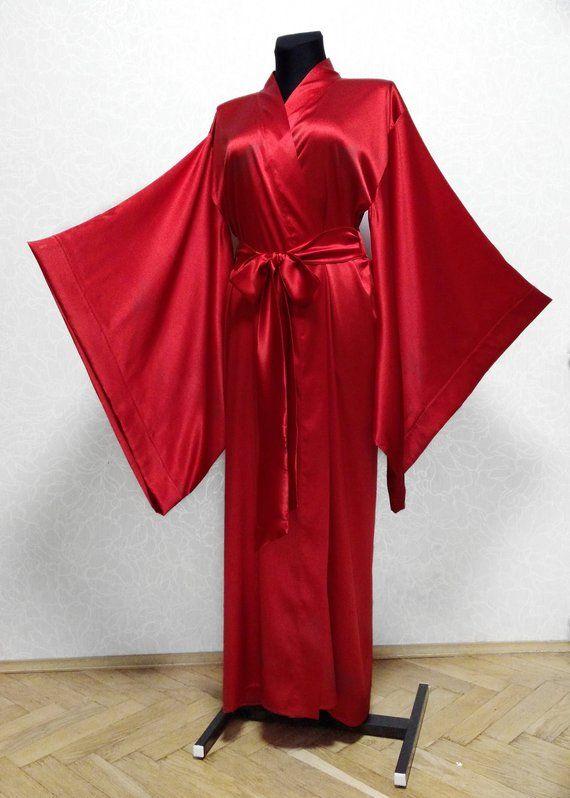 3835596818 Silk kimono robe silk robe Bridal robe kimono robe long