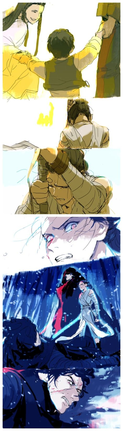 art by 01091006 嫉妬; jealousy; reylo; yin and yang; the dark side and the light