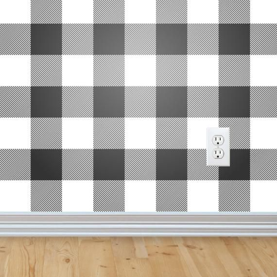 Buffalo Check Wallpaper Removable Wallpaper Peel And Stick Etsy In 2020 Removable Wallpaper Buffalo Check Peel And Stick Wallpaper