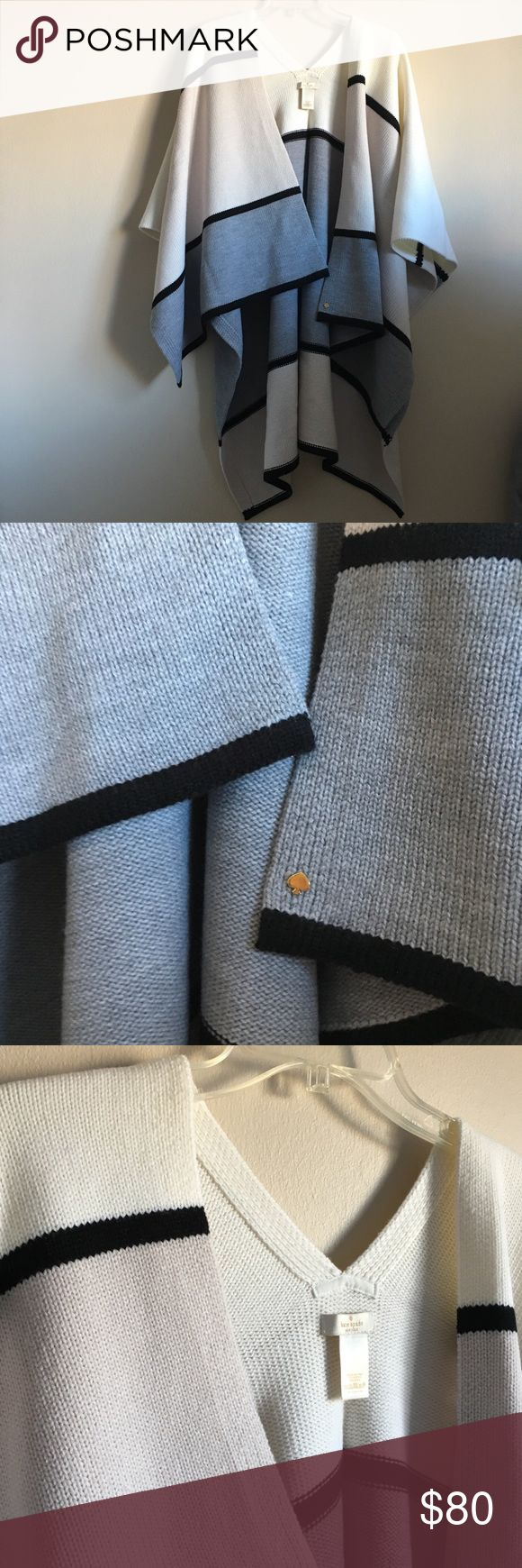 """Kate Spade Mondrian Colorblock Poncho Kate Spade Mondrian Colorblock Ruana Over the Shoulder Poncho  One size 70 acrylic, 30 wool Approx. length 28""""  In excellent pre-owned condition kate spade Sweaters Shrugs & Ponchos"""