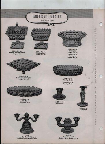 Fostoria-Glass-Co-original-1953-catalog-pages-American-bowls-candleholders