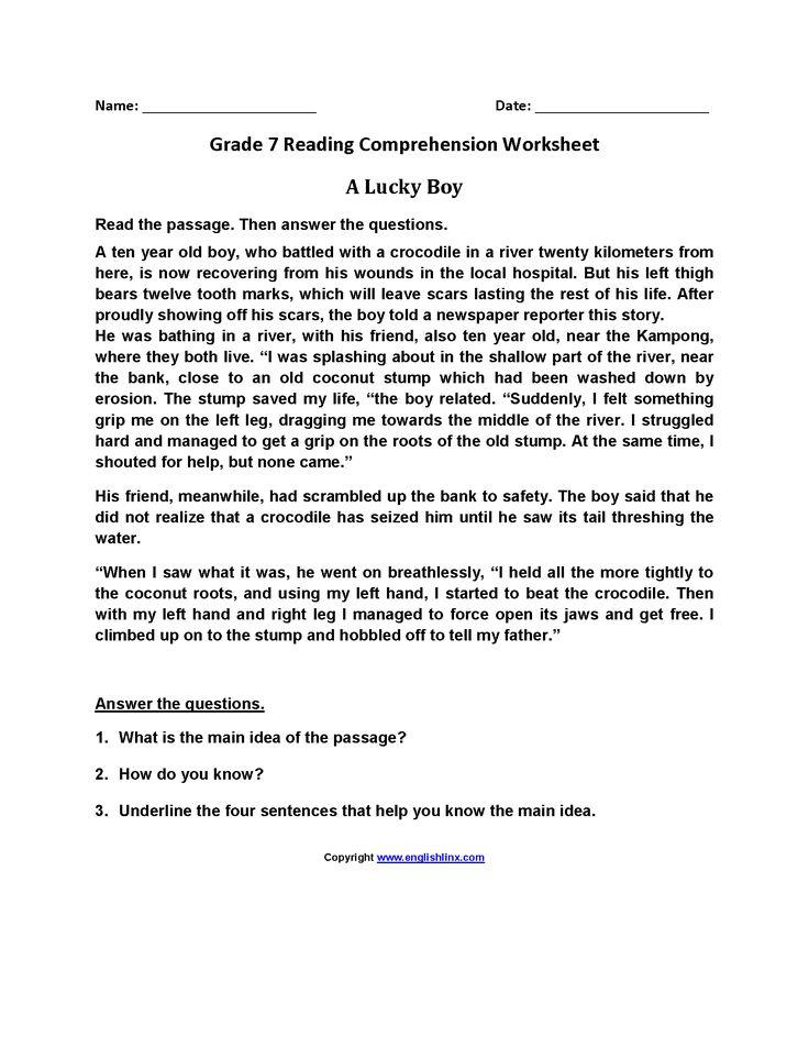 a lucky boy seventh grade reading worksheets wall 1 reading worksheets reading. Black Bedroom Furniture Sets. Home Design Ideas